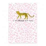 Espositori bigiotteria in cartoncino 'proud of you' leopardo bianco - rosa