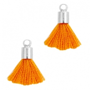 Nappine mini in stile Ibiza con terminale argento - arancio ruggine